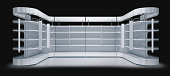 3d empty supermarket shelf with topper and stoppers isolated on black background