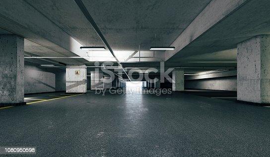 istock 3d empty underground parking space 1080950598