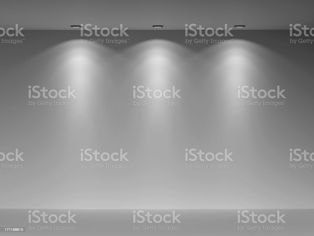 3d empty wall illuminated with three lights royalty-free stock photo