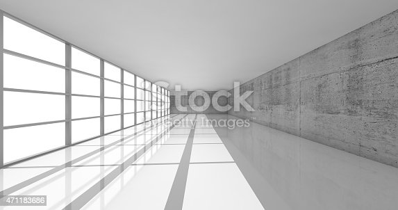 470934084 istock photo 3d empty white open space interior with bright windows 471183686