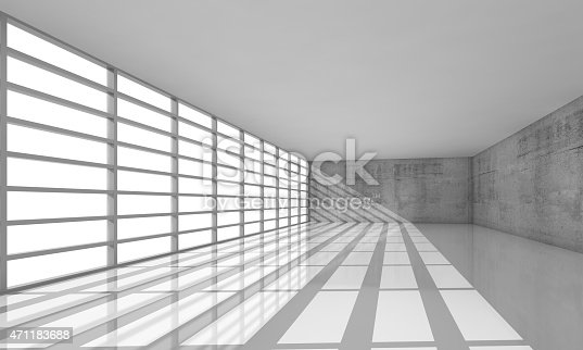 470934084 istock photo 3d empty white open space interior with bright windows 471183688