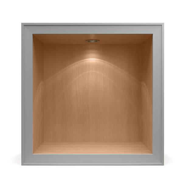 3 d leere hölzerne schalen mit aluminiumrahmen - offene regale stock-fotos und bilder