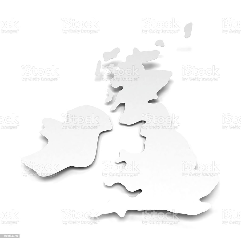 3d England shape paper with clipping path royalty-free stock photo