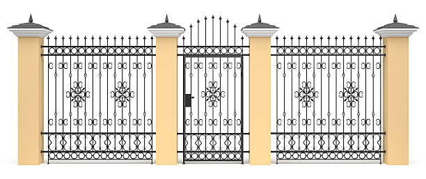 3d entrance with wrought iron decor - palisade boundary stock photos and pictures