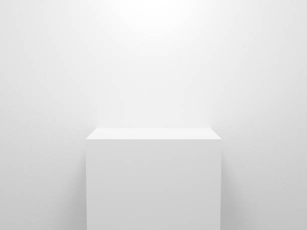 3d exhibition stand. White blank empty podium isolated on gray background for presentation and exposition. Vector illustration for mock up store. Pedestal for display product. Interior stage design. stock photo