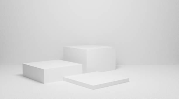 3d exhibition stand. White blank empty podium isolated on gray background for presentation and exposition. Pedestal for display product. Interior stage design. Abstract 3d podium for mock up store. stock photo