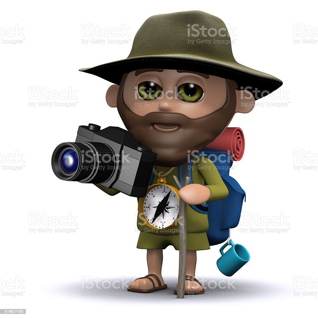 3d Explorer taking pictures with his camera stock photo