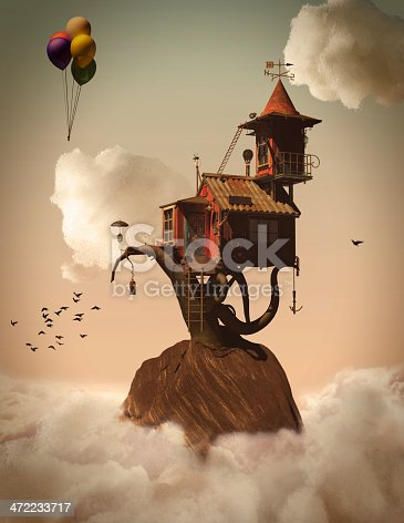 istock 3d Fairytale Tree House in the Clouds 472233717
