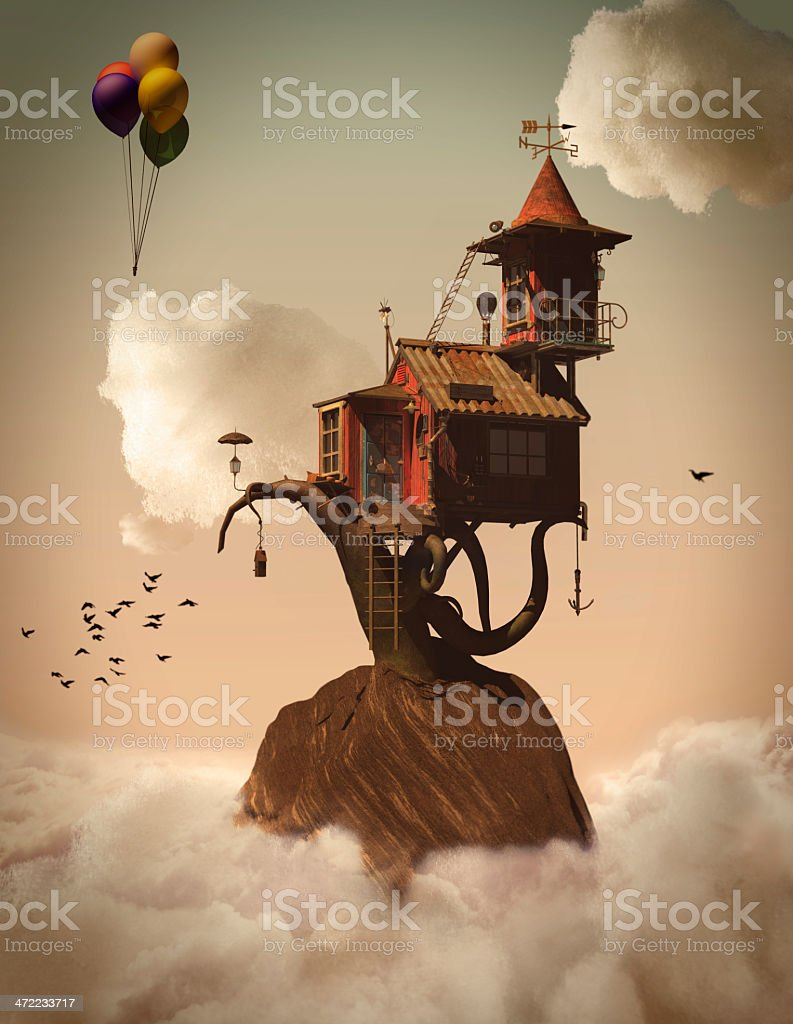 3d Fairytale Tree House in the Clouds stock photo