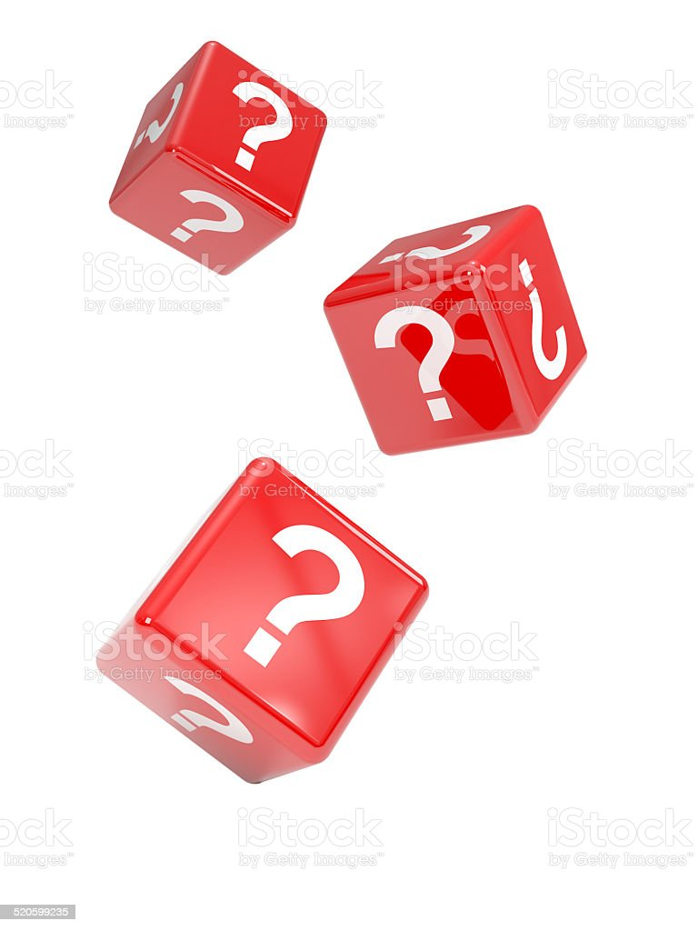 3d Falling red dice marked with question marks stock photo