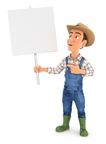 istock 3d farmer holding blank sign board 1249884959