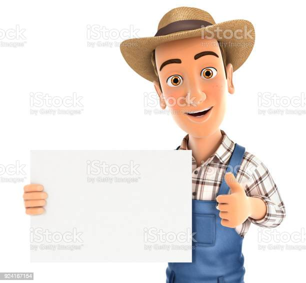 3d farmer holding placard with thumb up picture id924167154?b=1&k=6&m=924167154&s=612x612&h=yuh ub45y9lywvo4imijxde7wsdwft5iwhmbwfz0nbo=