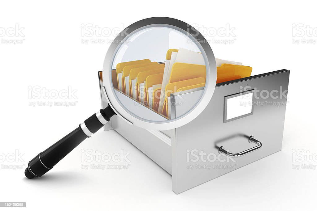 3d file cabinet on white background royalty-free stock photo