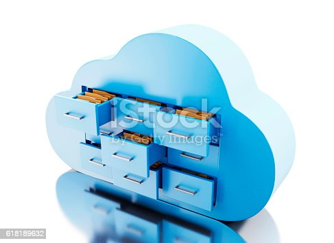 istock 3d File storage in cloud. Cloud computing concept. 618189632