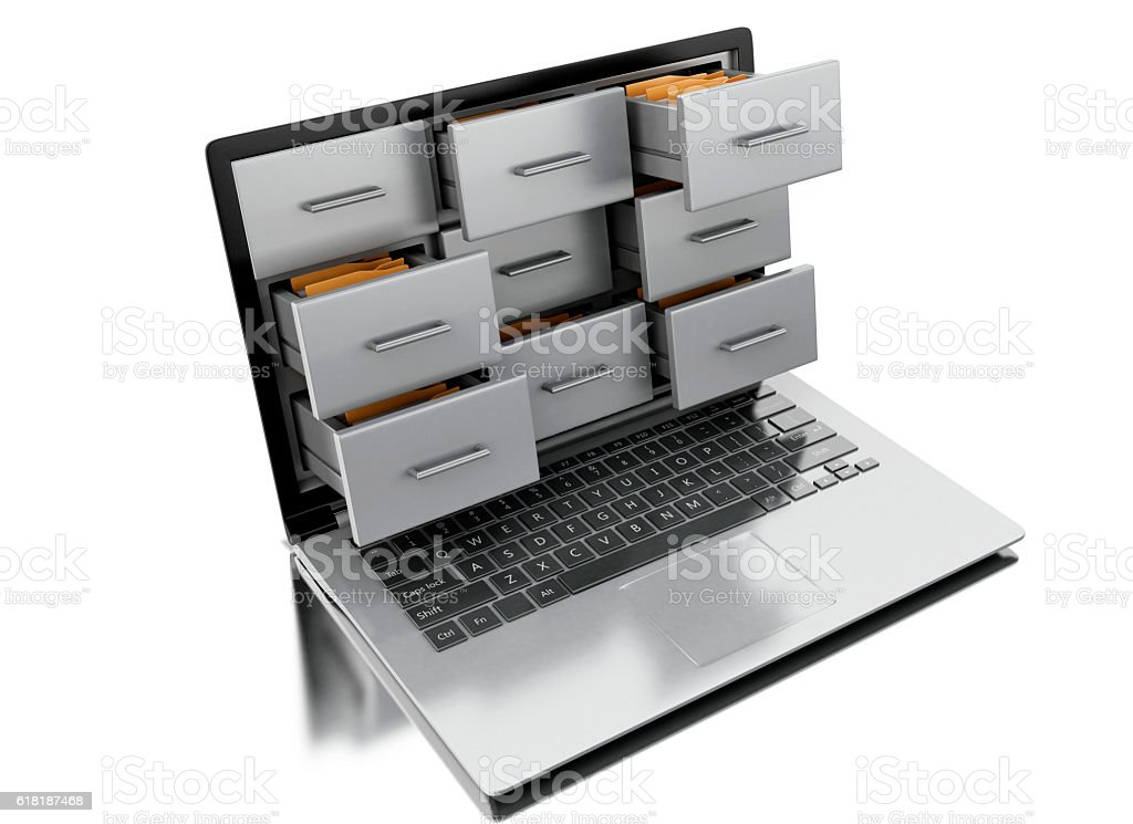 3d Files and folders in laptop - foto stock