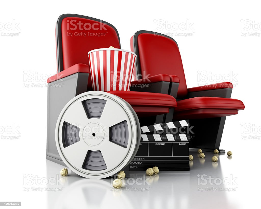 3d Film reel and Cinema clapper board on theater seat. stock photo