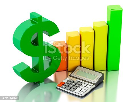 831745600istockphoto 3d Financial business, bar graph and dollar sign. 472914078