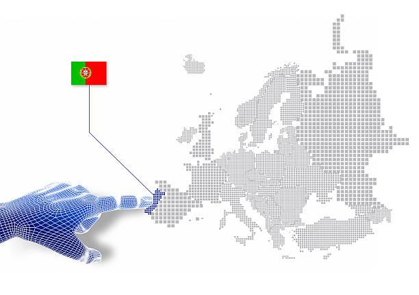 3 d dedo toque em mostrar portugal mapa e a bandeira. - portugal map imagens e fotografias de stock