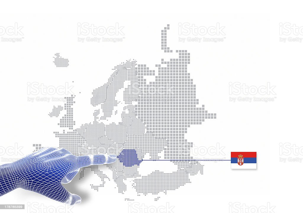 3d Finger touch on display Serbia map and flag. stock photo