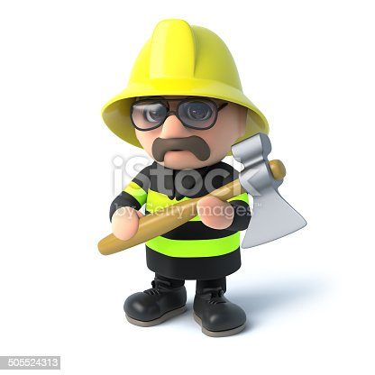istock 3d Fireman with his axe 505524313