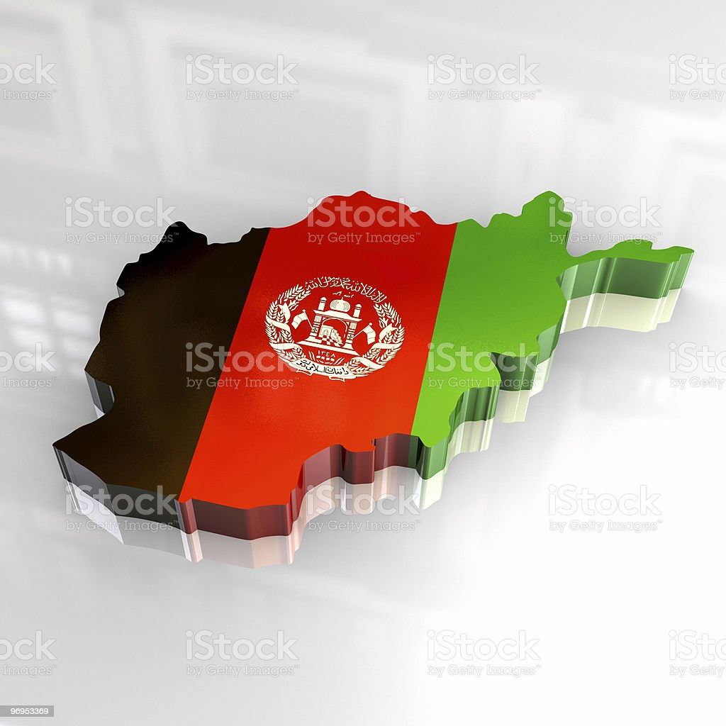3d flag map of afghanistan royalty-free stock photo