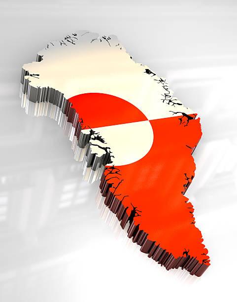3 d flag-Karte von Grönland – Foto