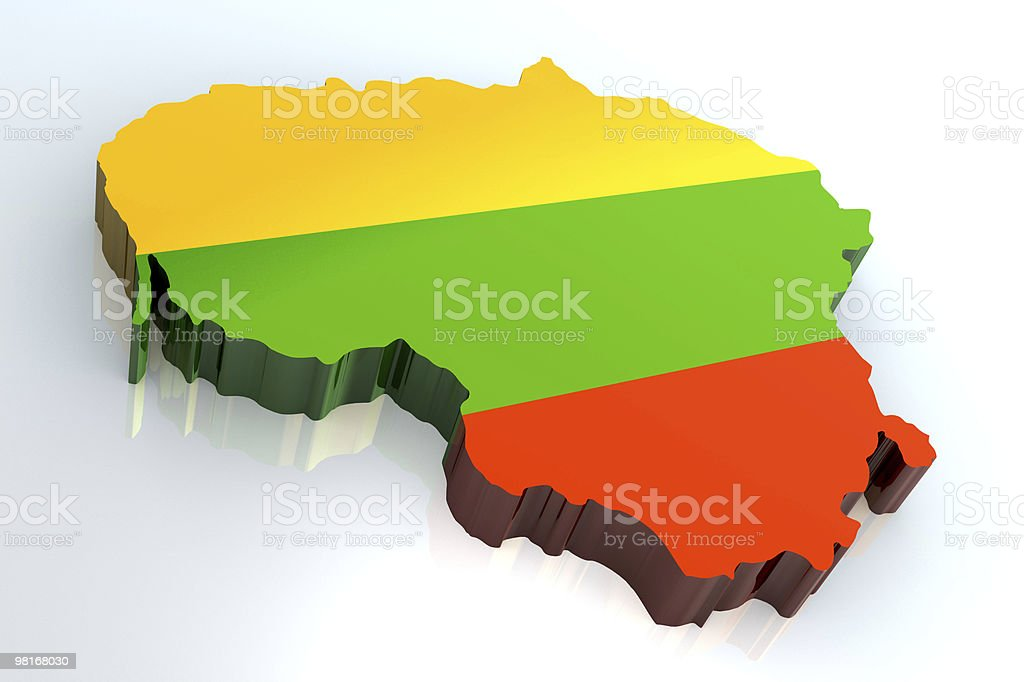 3d flag map of lithuania royalty-free stock photo