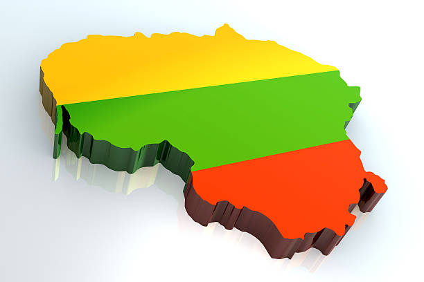 3 d flag-Karte von Litauen – Foto