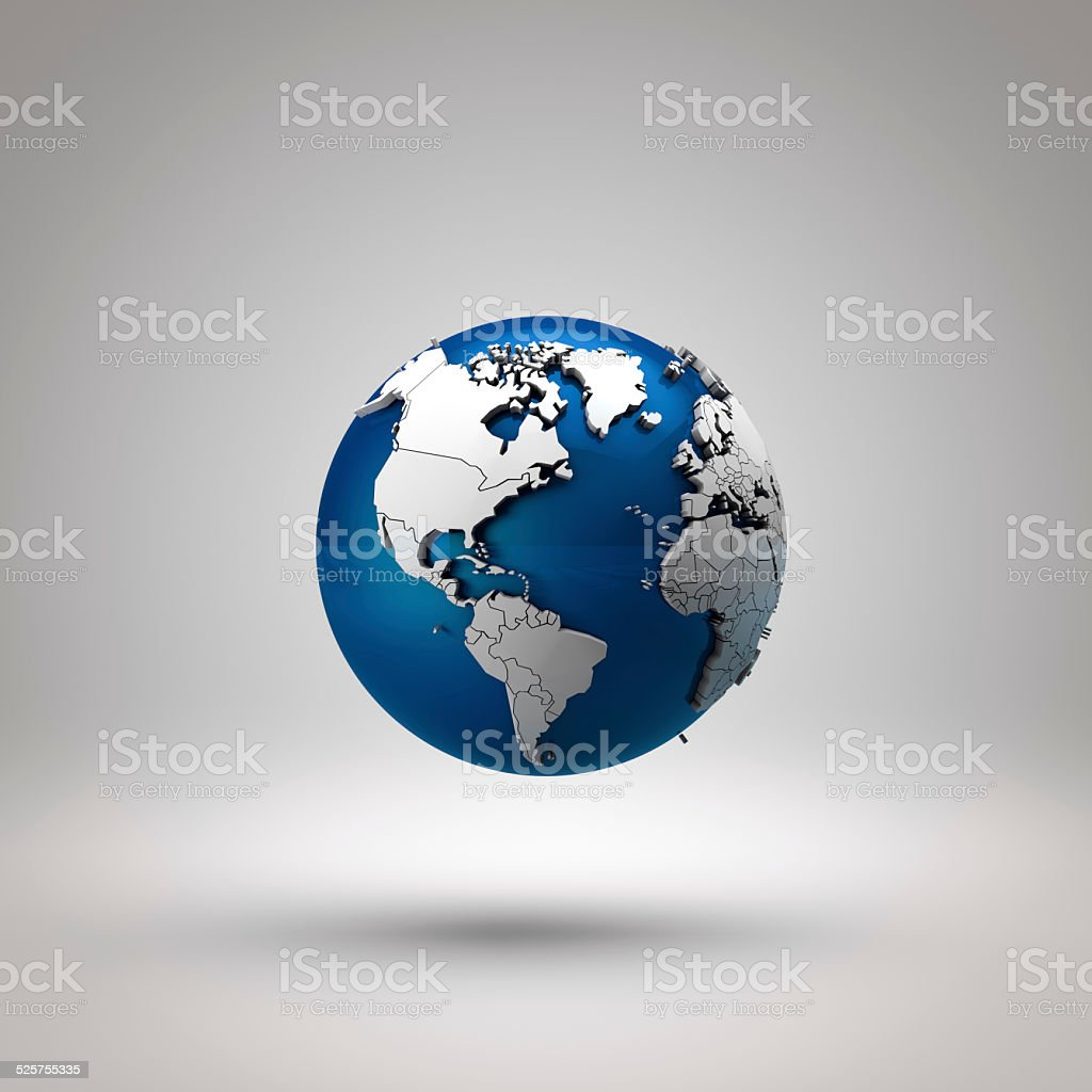 3d floating earth with america map. stock photo