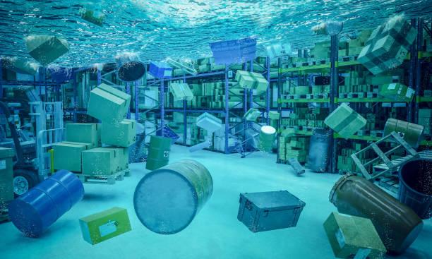 3d überflutet lager-innenhintergrund - was bringt unglück stock-fotos und bilder