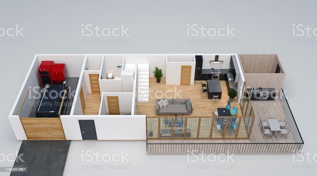 Plano De Planta 3d Vista Isométrica De La Casa Con Garaje