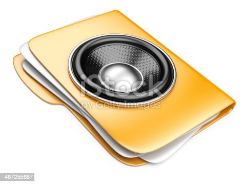 istock 3d folder with speaker. audio-book concept 467255667