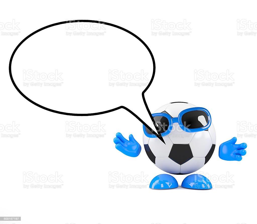 3d Football speech balloon stock photo
