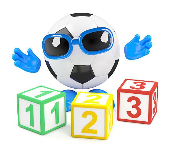 3d Football teaches math stock photo