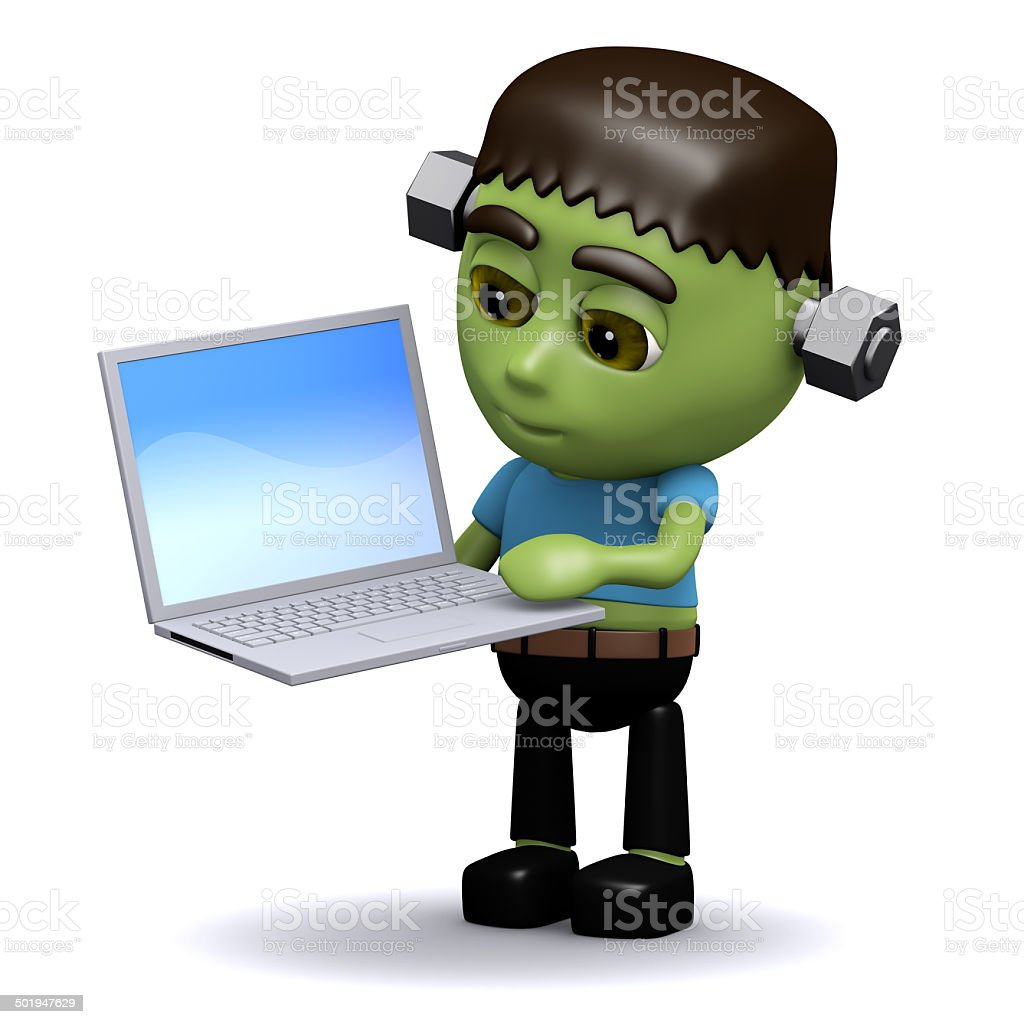 3d Frankenstein has a new laptop stock photo