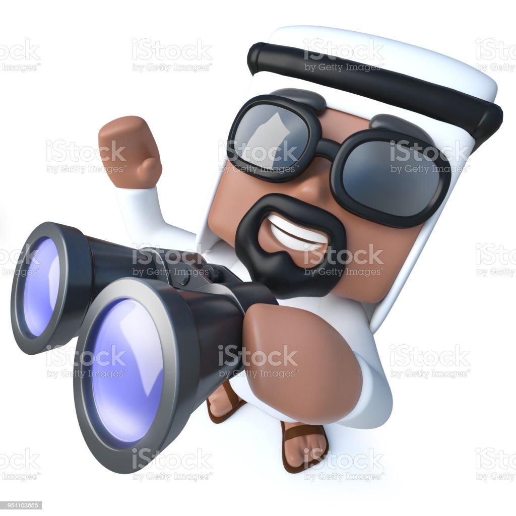 3d Funny cartoon Arab sheik character using a pair of binoculars stock photo