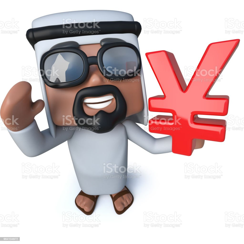 3d Funny Cartoon Arab Sheik Holding A Yen Currency Symbol Stock