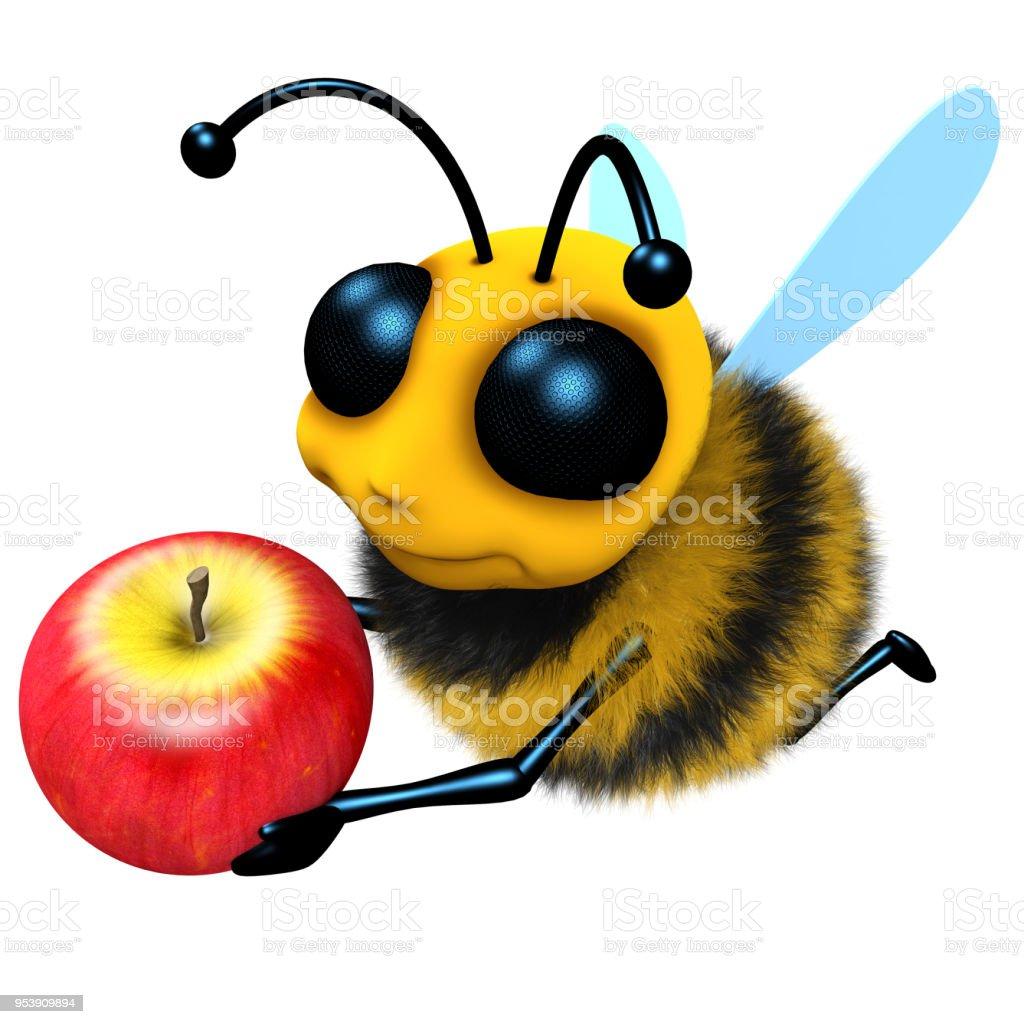 3d Funny cartoon honey bee character holding a juicy apple stock photo