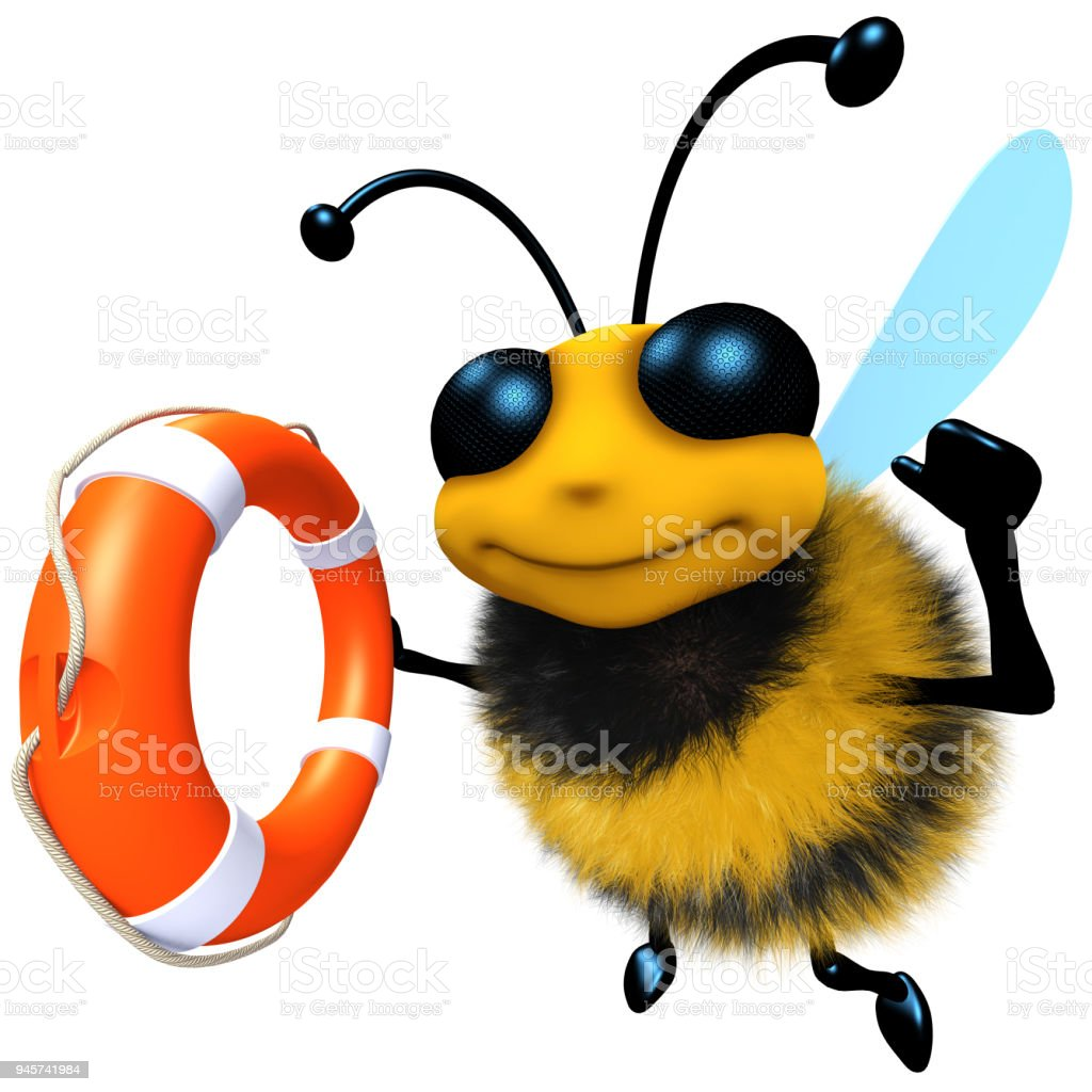 3d Funny cartoon honey bee character holding a lifering stock photo