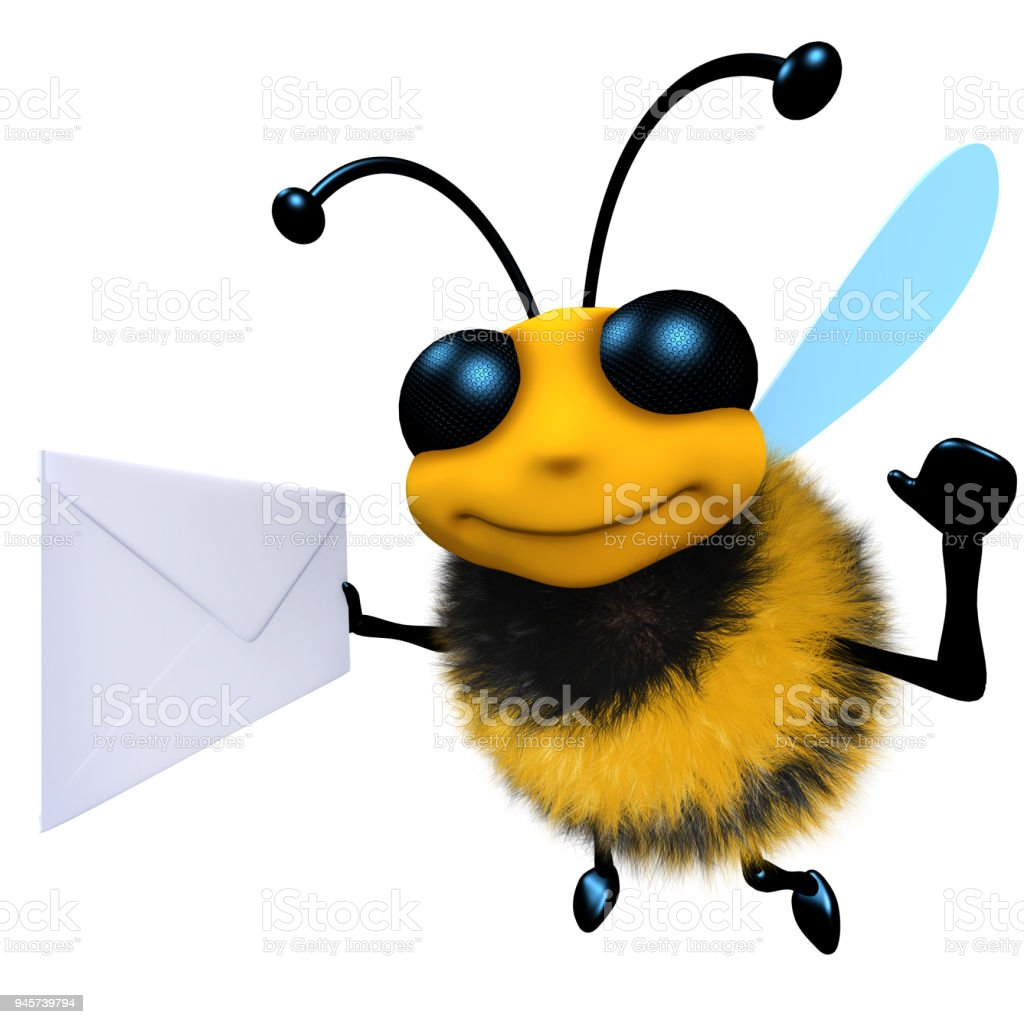 3d Funny cartoon honey bee character holding an envelope message stock photo