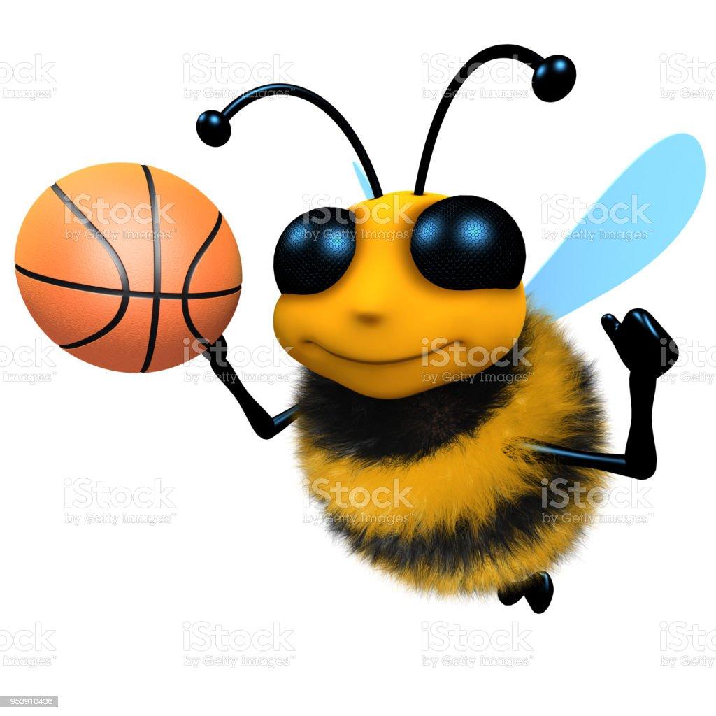 3d Funny cartoon honey bee character playing basketball stock photo