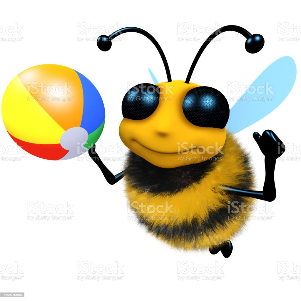 3d Funny cartoon honey bee character playing with a beachball stock photo