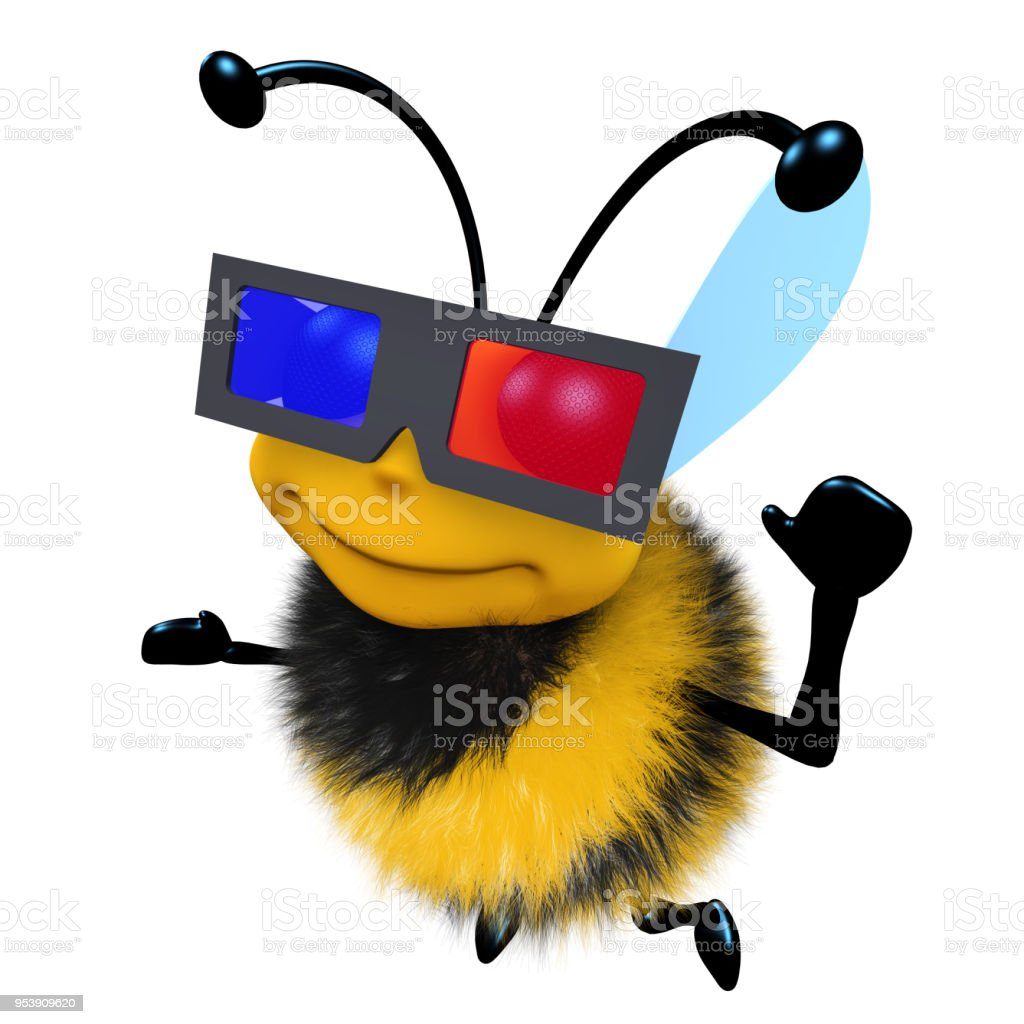 3d Funny cartoon honey bee character wearing a 3d glasses to watch a movie stock photo