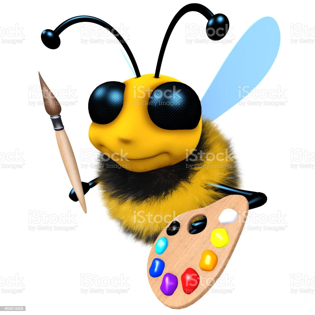 3d Funny cartoon honey bee character with paintbrush and palette stock photo