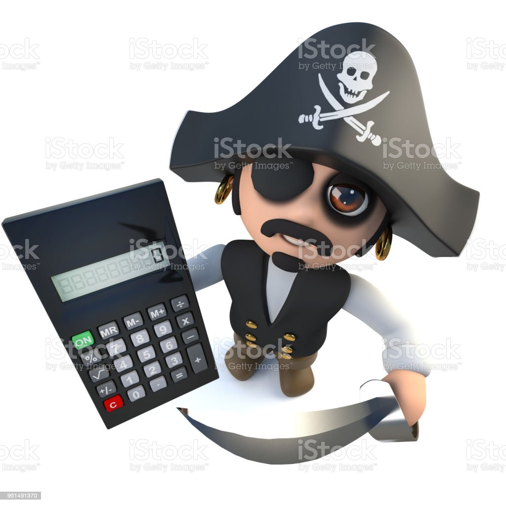 3d Funny Cartoon Pirate Captain Holding A Digital Calculator