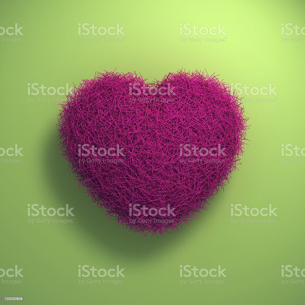 3d furry heart royalty-free stock photo