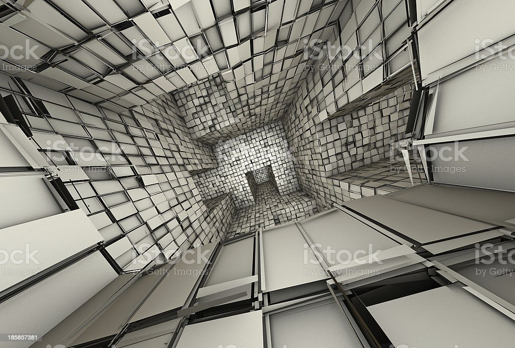 3d futuristic fragmented tiled mosaic labyrinth interior royalty-free stock photo