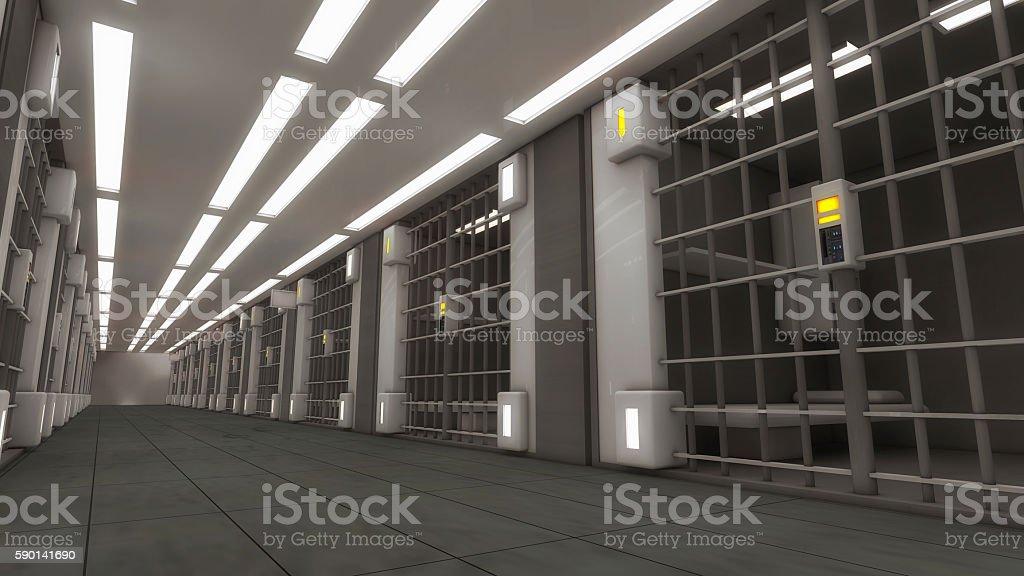 3d futuristic interior jail stock photo