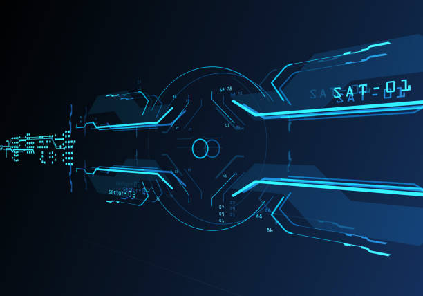 3d futuristische benutzeroberfläche - target raumgestaltung stock-fotos und bilder
