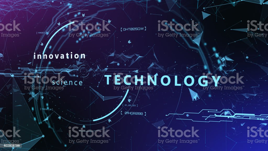 3d Futuristic user interface. Technological background stock photo